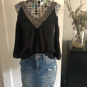 BUNDLE! Sexy black top and distressed denim skirt